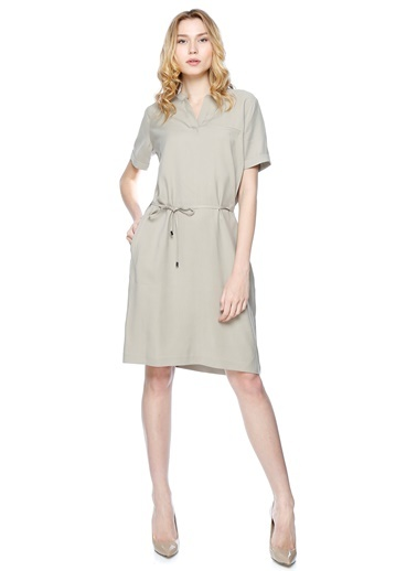 Kısa Kollu Diz Boyu Elbise-Fabrika